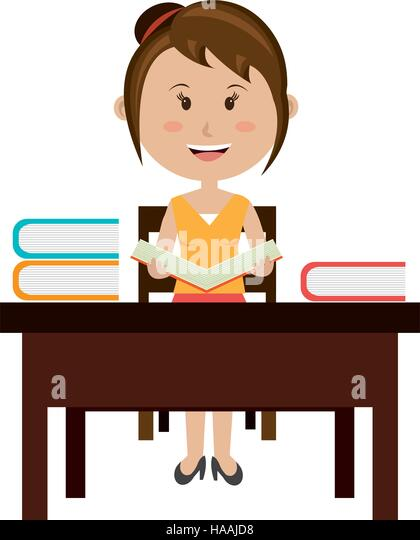 Student Sitting In A Chair Cartoon