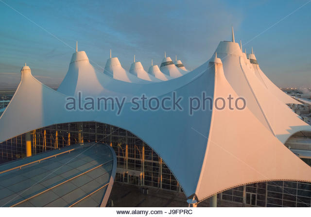 White Fabric Roof Of The Elrey B. Jeppesen Terminal At The Denver  International Airport,