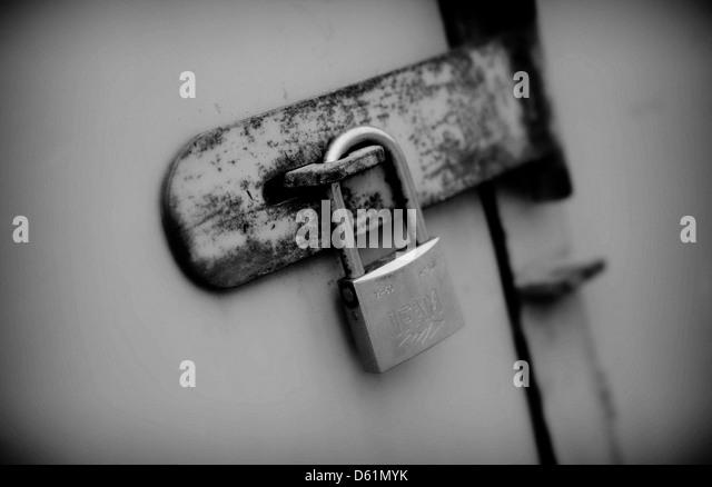 A padlocked door - Stock Image & Locked Door Black and White Stock Photos \u0026 Images - Alamy Pezcame.Com
