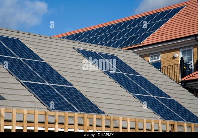 Solar housing london stock photos solar housing london for Cheap energy efficient homes
