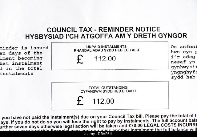 Council Tax Demand Letter In English And Welsh.   Stock Image
