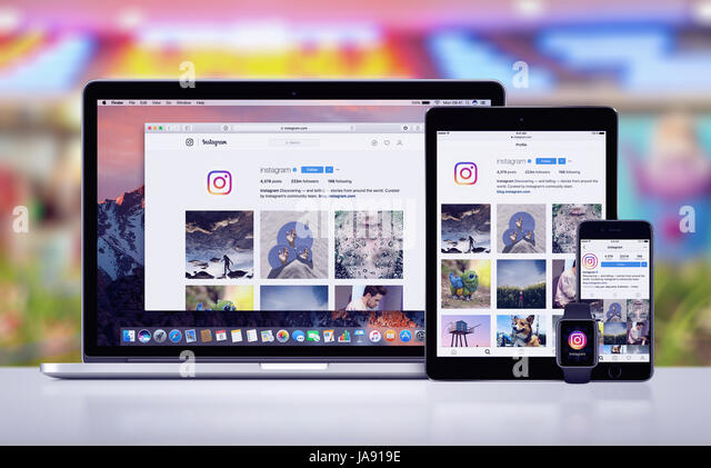 Instagram on the Apple iPhone 7 iPad Pro Apple Watch and Macbook Pro - Stock Image
