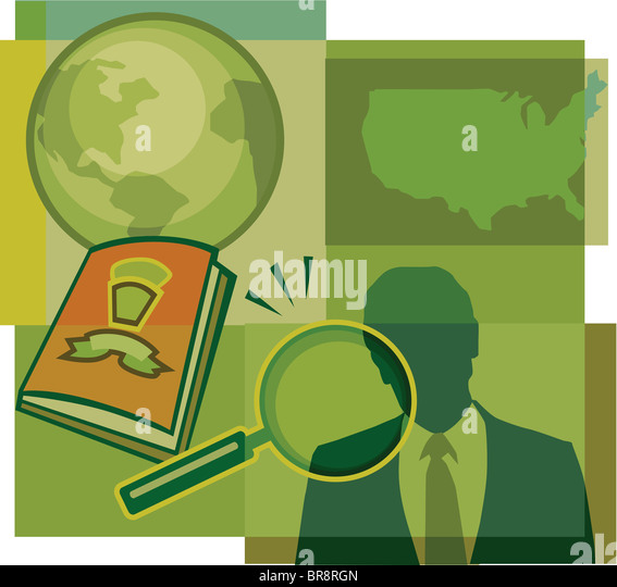 A Montage Of The Earth The Us Map A Man A Magnifying Glass