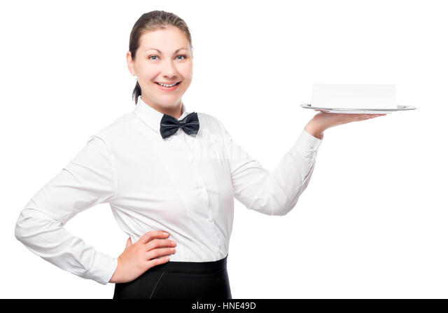 stock photo smiling waitress picking bread
