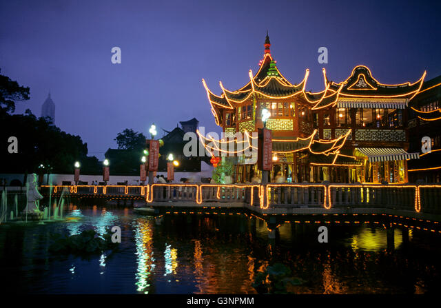 Huxinting Tea House In The Night, Yuyuan Garden, Shanghai, China   Stock  Image