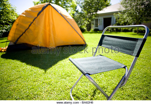 Tent and c&ing chair in backyard - Stock Image & Tent Camping Chair Backyard Stock Photos u0026 Tent Camping Chair ...