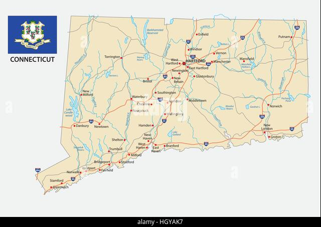 Map Of Connecticut State Stock Photos Map Of Connecticut State - Road map of connecticut
