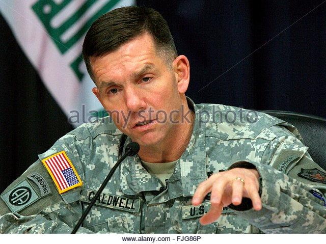 <b>William Caldwell</b> gestures as he - epa00956005-us-military-spokesman-in-iraq-maj-gen-william-caldwell-fjg86p