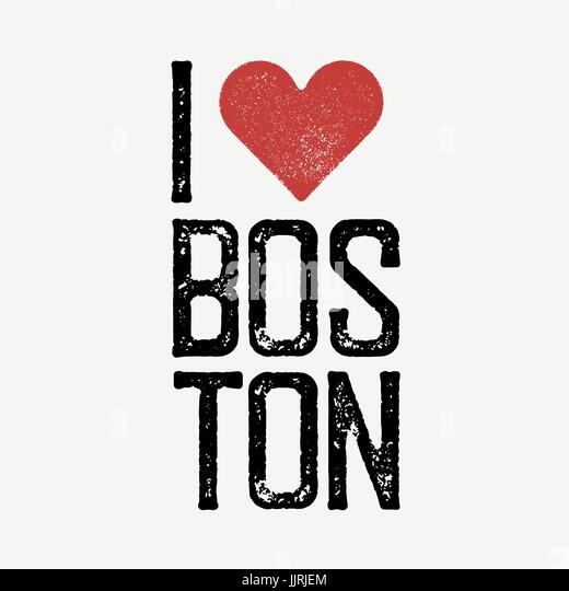 I Love Boston Text With Red Heart T Shirt Print Design Template