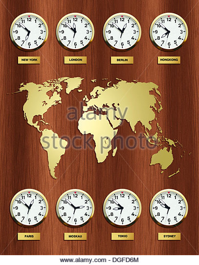 Different Time Zone Clocks Stock Photos Different Time Zone - Germany map time zones