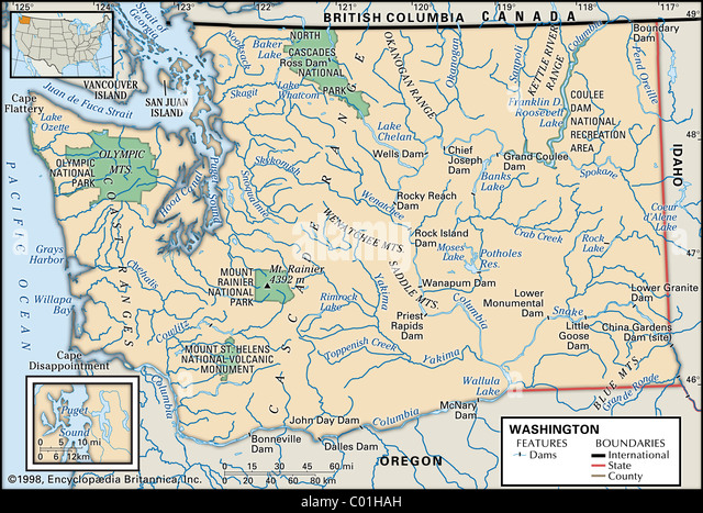 Washington Map Stock Photos Washington Map Stock Images Alamy - Washington political map