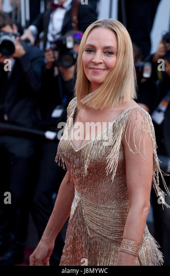 Uma Thurman, President of the Un Certain Regard  Jury, arriving to the Closing Ceremony and awards at the 70th Cannes - Stock Image
