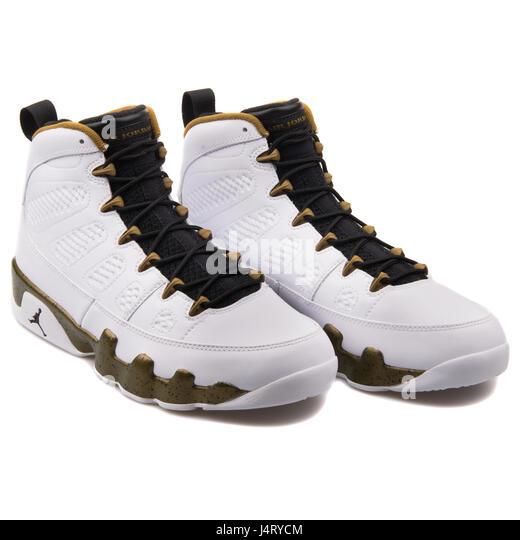 c1bc3a42a86177 ... new zealand nike air jordan 9 retro white black militia green high  leather sneakers 302370 109