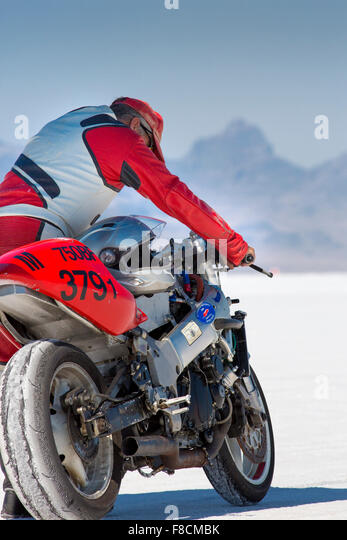Unidentified Driver Holding His Super Bike During The World Of Speed 2012.    Stock Image