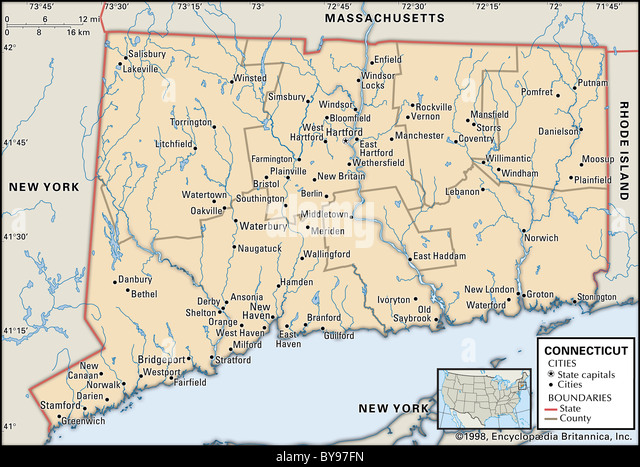 Map Of Connecticut State Stock Photos Map Of Connecticut State - Map of connecticut cities