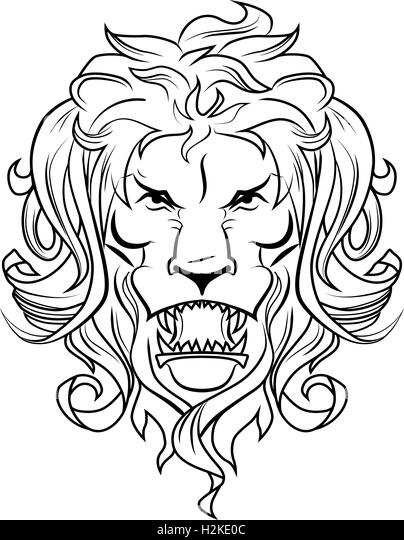 Lion head icon stock photos lion head icon stock images for Merlion tattoo images