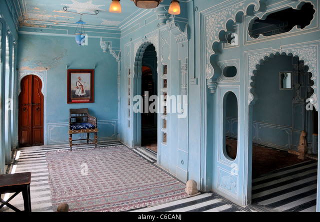 Interior Blue Room Inside City Palace Udaipur Rajasthan India