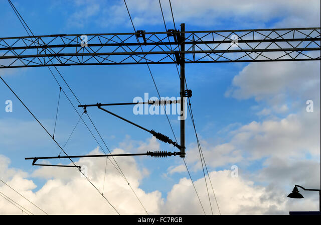 Rail Electric Wire Blue Stock Photos & Rail Electric Wire Blue ...