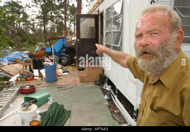 Florida Fort Pierce Hurricane Jeanne Damage Trailer Mobile Home Park Resident