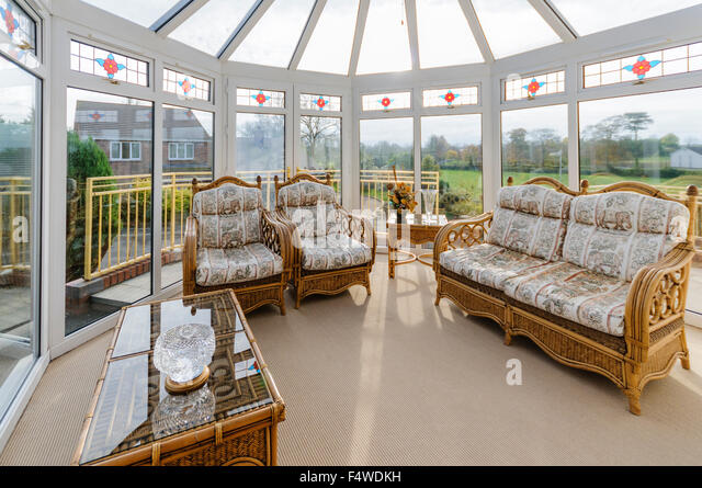 Beautiful Household Conservatory With Cane Furniture   Stock Image