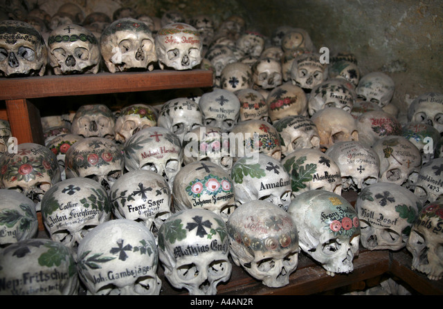 Austria Hallstadt; Ossuary; Cemetery ;Beinhaus In Chapel Machaeli Church  Charnel House Hallstadt Upper
