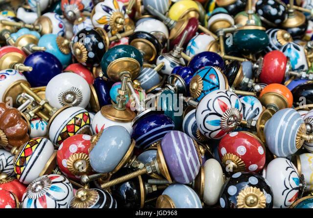KORNELIMUENSTER, GERMANY, 18th June, 2017 - spare knobs for sale on the historic fair of Kornelimuenster. - Stock Image