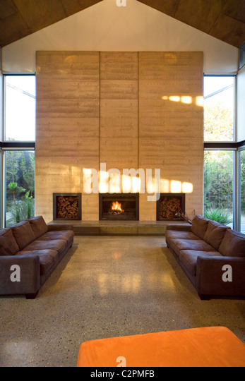 Caston House Melbourne Australia Double Height Living Room With Fireplace