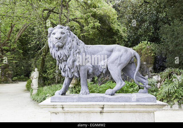 High Quality Lion Statue In A Garden, Detail Of A Metal Statue, Outdoor Art   Stock