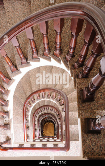 Vintage Spiral Staircase Interior In Old House.   Stock Image