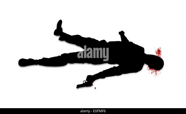 suicide concept man shot himself silhouette isolated on white stock image
