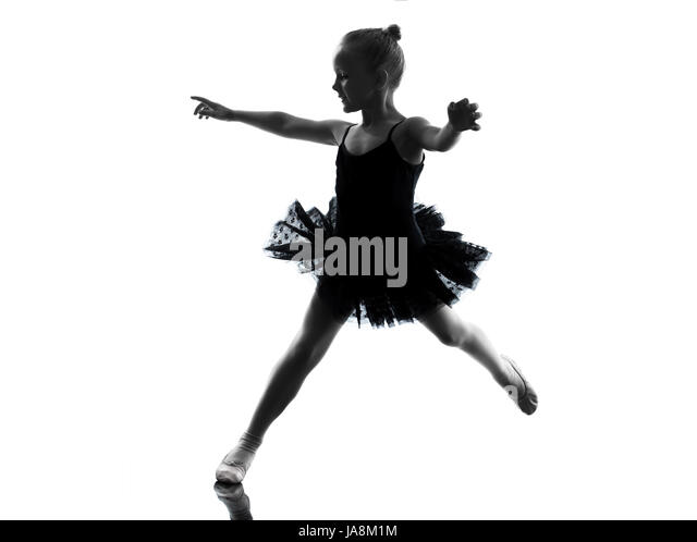 Silhouette Little Girl Dancing On Stock Photos & Silhouette Little ...