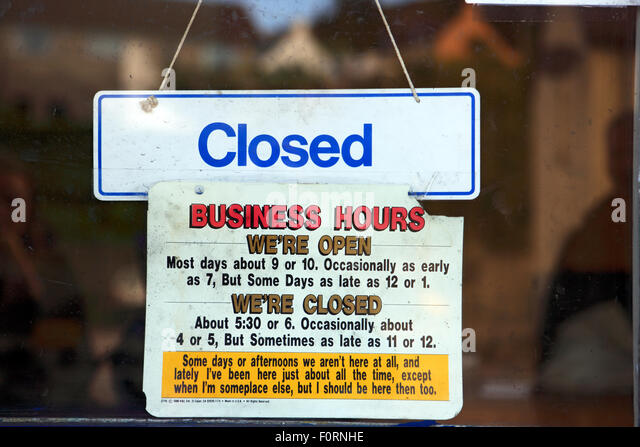Business hours uk sign stock photos business hours uk sign stock amusing business hours notice hanging on a shop door in the west coast of scotland village sciox Image collections