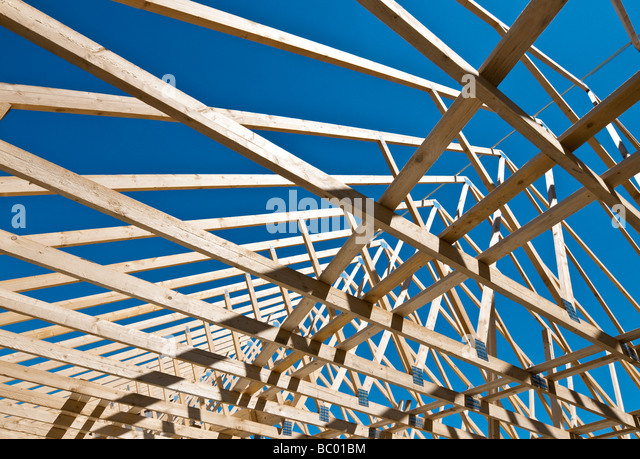 Prefabricated roof truss stock photos prefabricated roof for Prefabricated wood trusses