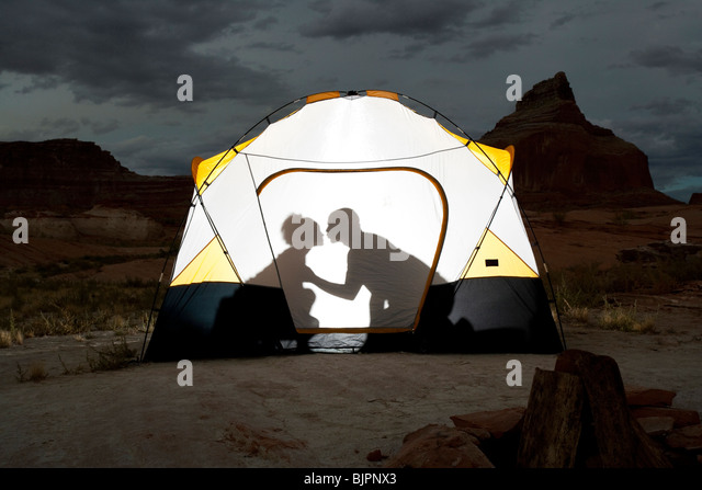 Silhouette of couple kissing in tent - Stock Image & Tent Silhouette Stock Photos u0026 Tent Silhouette Stock Images - Alamy