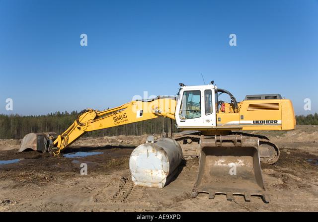 Digger Gas Tank : Yellow digger stock photos images