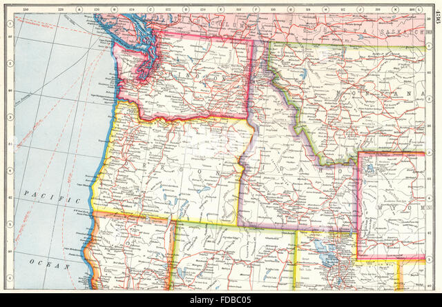 Washington Oregon Idaho Montana Map Stock Photos Washington - Montana state usa map