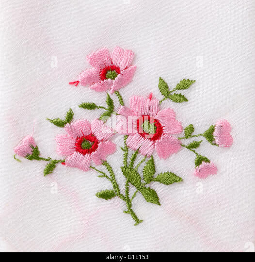 Hand embroidery flower stock photos