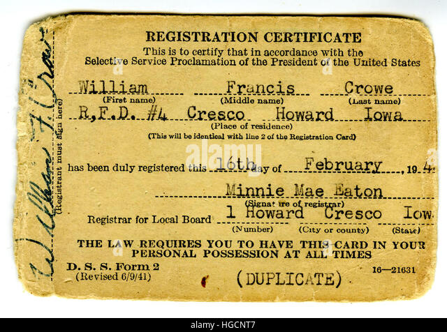 American Selective Service Registration Form Stock Photos