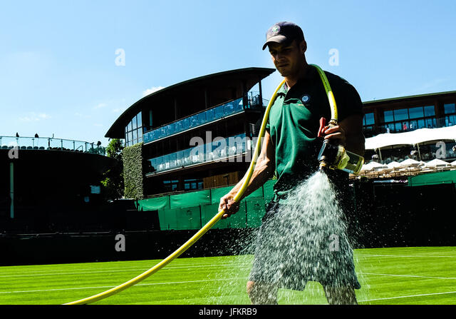 London, Great Britain, 2ndJuly 2017:Final preparations before the Wimbledon Tennis Championships 2017 at the All - Stock Image