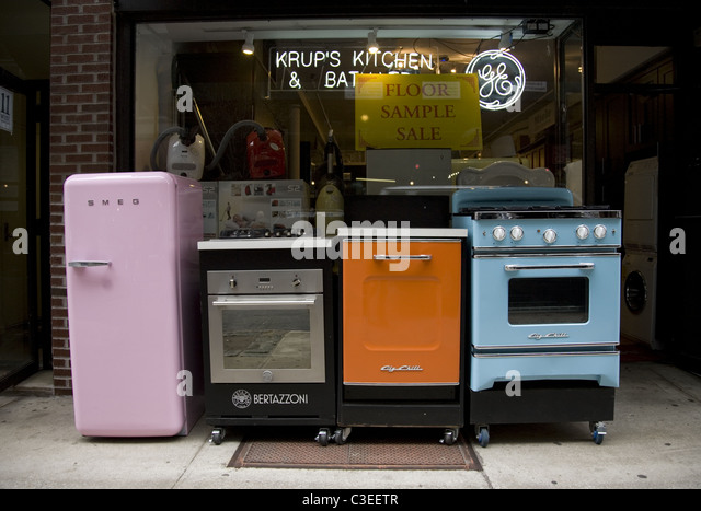 New retro style kitchen appliances on display in New York City. - Stock  Image