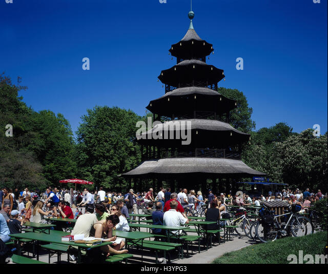 munich english garden chinese tower stock photos munich english garden chinese tower stock. Black Bedroom Furniture Sets. Home Design Ideas