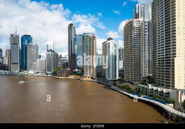 Brisbane city skyline along the river, Queensland, Australia. - Stock Image