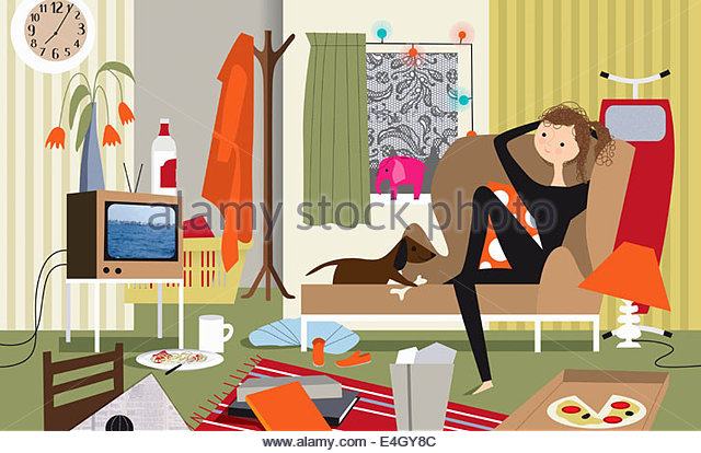 Lazy Woman And Dog Watching Tv In Messy Living Room Stock Photo