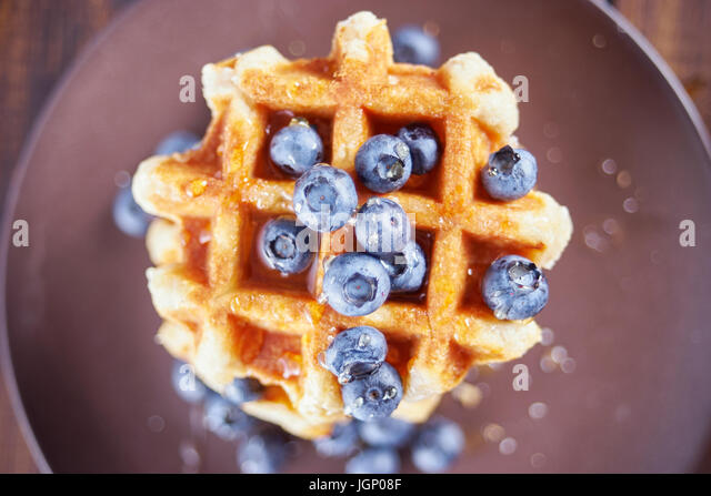 Top view of belgian sweet waffles. - Stock Image
