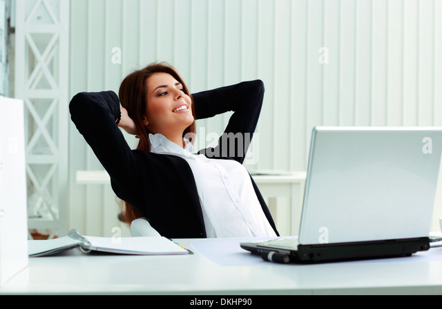 young happy businesswoman resting in office stock image business nap office relieve