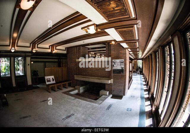 Frank lloyd wright house interior stock photos frank for Classic chicago house