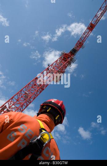 Tower Crane Rescue Procedure : Rescue team at work stock photos