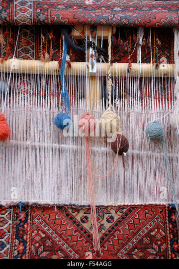 Weaving Loom For Carpets In Iran   Stock Image