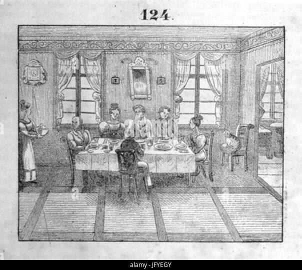 Esszimmer Dienstmädchen 1835   Stock Image