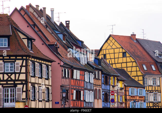 Colorful timber houses stock photos colorful timber for Blue piscine colmar